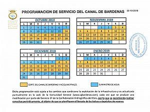 PROGRAMACIÓN DE SERVICIO DEL CANAL DE BARDENAS 02-10-2018