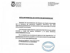 NOTA INFORMATIVA CIERRE DEPENDENCIAS Telefonos: 976662311- 649822447- Email recepcion@cgbardenas.com