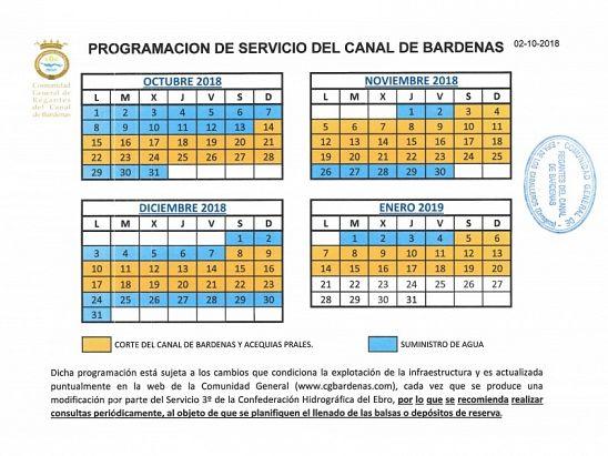 CALENDARIO CANAL DE BARDENAS 02-10-2018