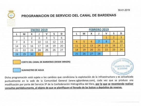 CALENDARIO PROGRAMACION CANAL DE BARDENAS
