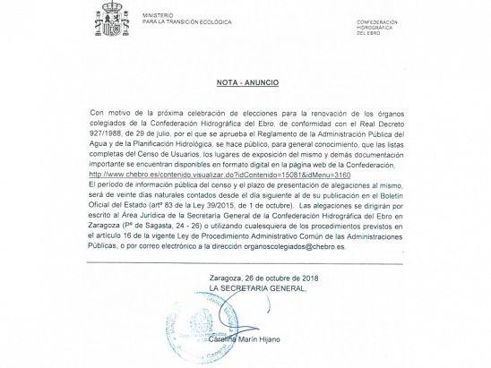 NOTA ANUNCIO CHE
